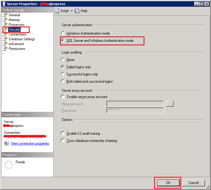 How to enable SQL Server Authentication mode in SQL Server 2008 R2