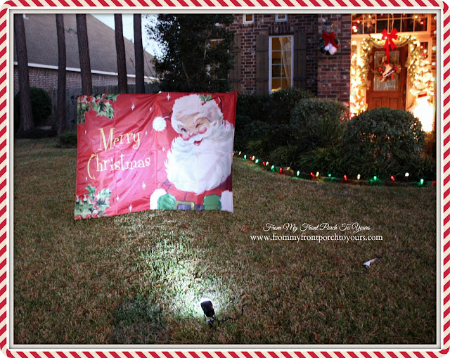 Christmas Yard Decor at Night-Nylon Vintage Santa Yard Decoration-Christmas Front Porch-From My Front Porch To Yours