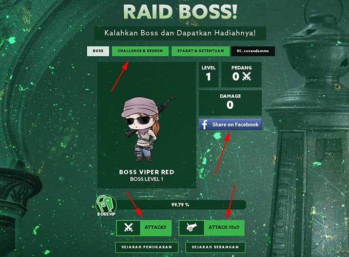 Cara Mengikuti dan Klaim Hadiah Event PB Garena New Raid Boss