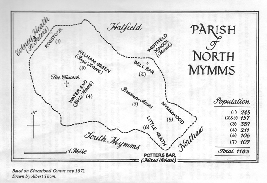 Drawing of a map of the Parish of North Mymms