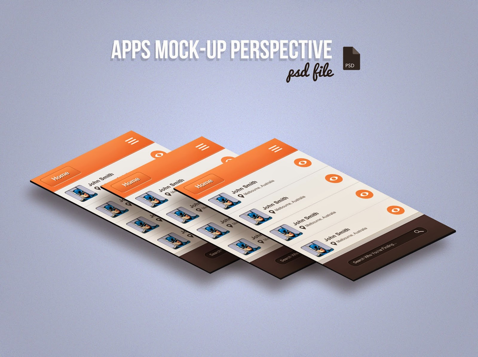 Perspective App Screen Mockup PSD