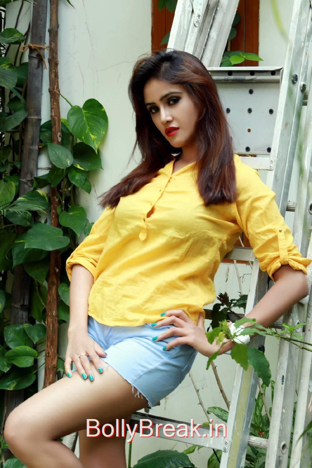 Sony Charishta Unseen Stills, Sony Charishta in Denim Shorts - Hot Photoshoot Images in Yellow Shirt