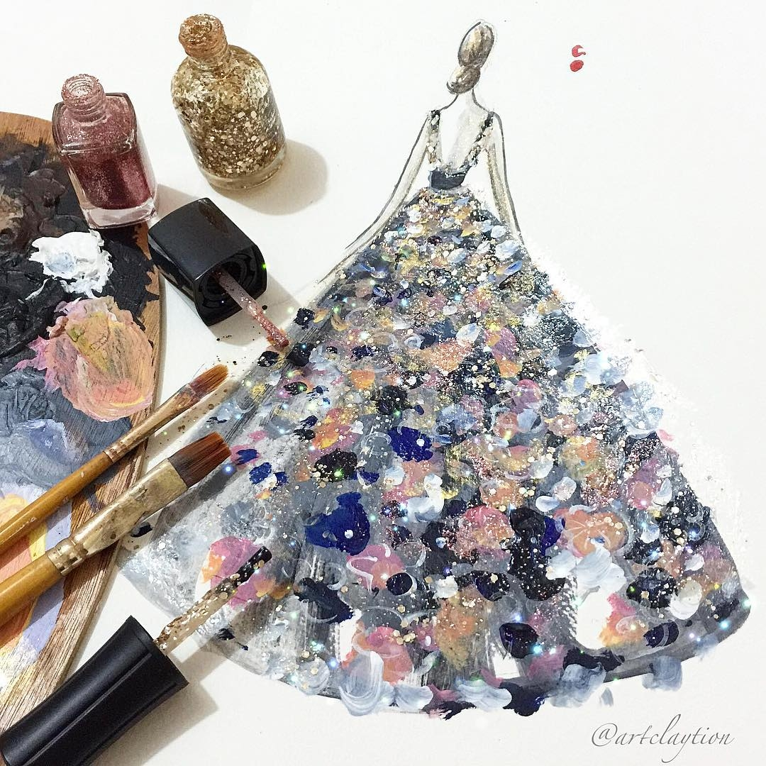 01-Chan-Clayrene-Artclaytion-Haute-Couture-Paintings-using-Nail-Polish-and-Brushes-www-designstack-co