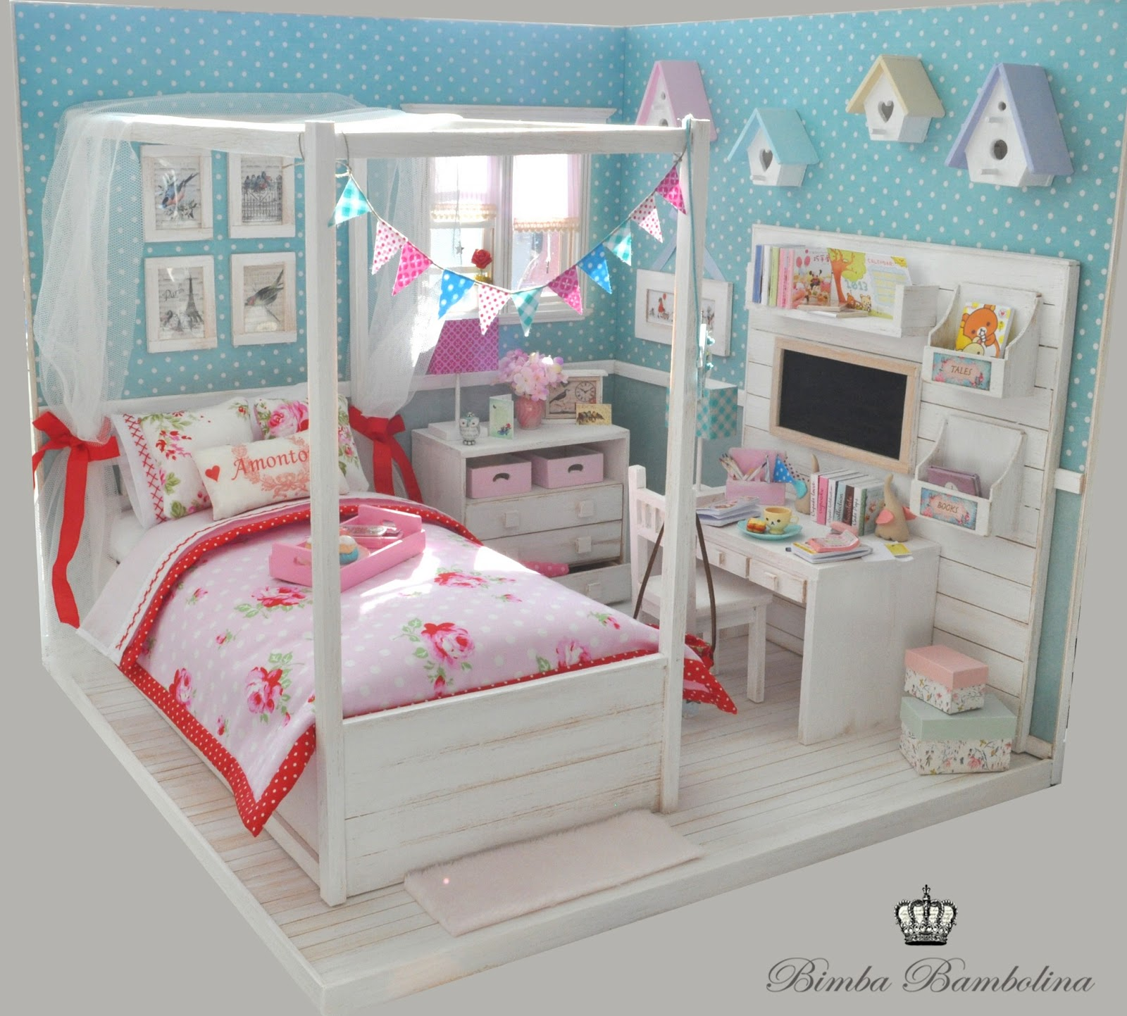 "American Girl Doll Bedroom: Bimba Bambolina: OOAK Diorama ""Shabby Dreams For Amy"