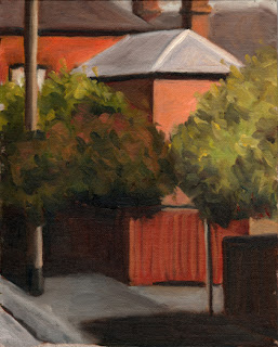 Oil painting of the rear of a double-storey Victorian brick house and a dull red fence.