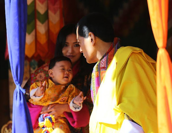 Wangchuk family. Ugyen Wangchuk, hereditary monarch of Bhutan, King Jigme Namgyal Wangchuck, Queen Jetsun Pema and their young son Crown Prince Gyalsey