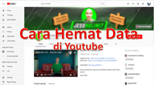 Cara Menghemat Data di Youtube
