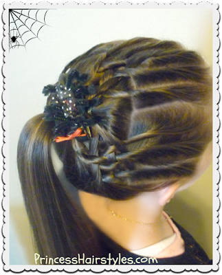 Halloween hair. Spider web hairstyle tutorial.