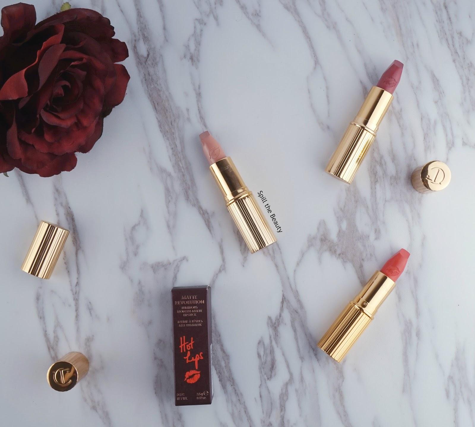 charlotte tilbury hot lips lipstick secret salma kim k.w. miranda may review swatches look