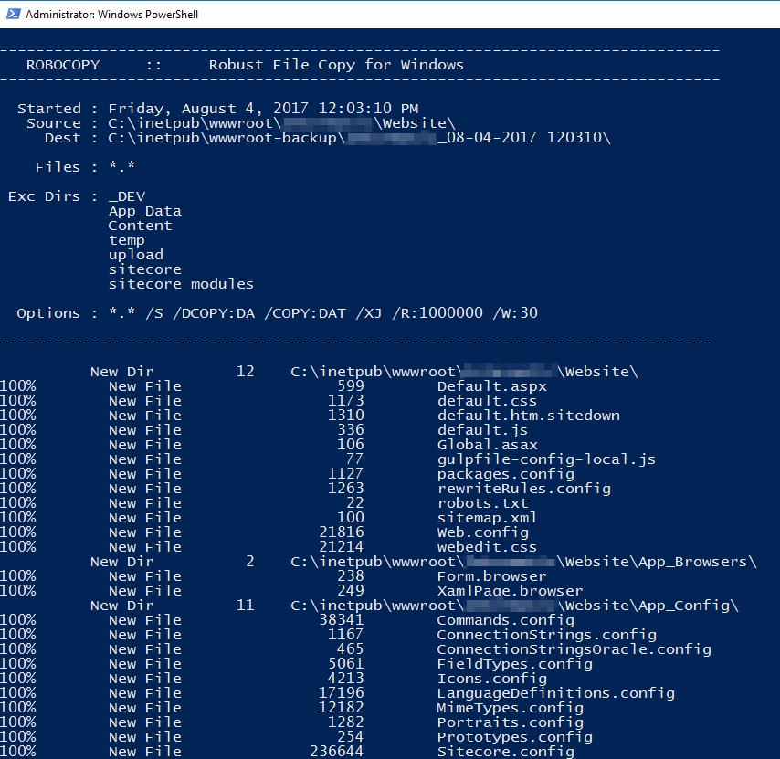 sitecore website backup powershell script sitecore gabe