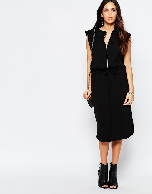 warehouse tie waist black dress, zip up black dress,