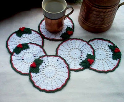 Holly Berry Crochet Coasters Set By Crochet By MSA on Etsy