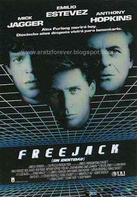 Freejack, sin identidad, Emilio Estevez, Rene Russo, Mick Jagger, Anthony Hopkins, Ronald Shusett