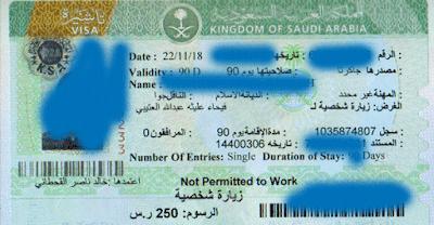 contoh visa saudi yang dikeluarkan dari vfs tasheel