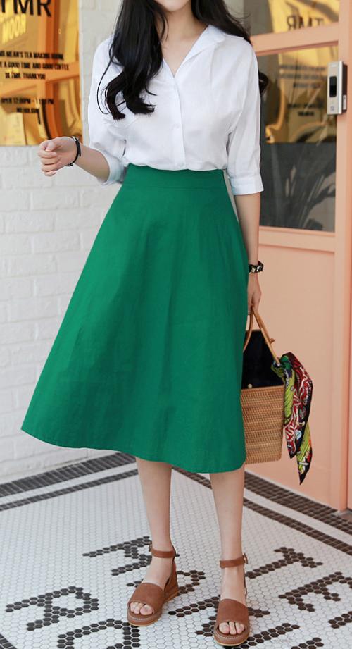 Linen A-Line Midi Skirt