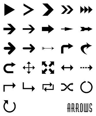 26 flechas de formas personalizadas