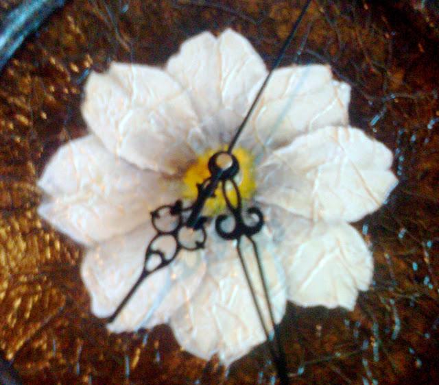 Reloj Pintura decorativa sobre madera Imitacion cuero