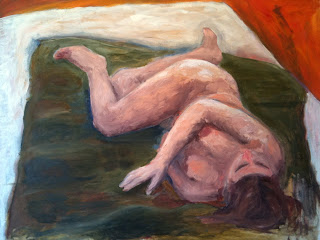 Nude laying on bed - oil on canvas, original painting for sale