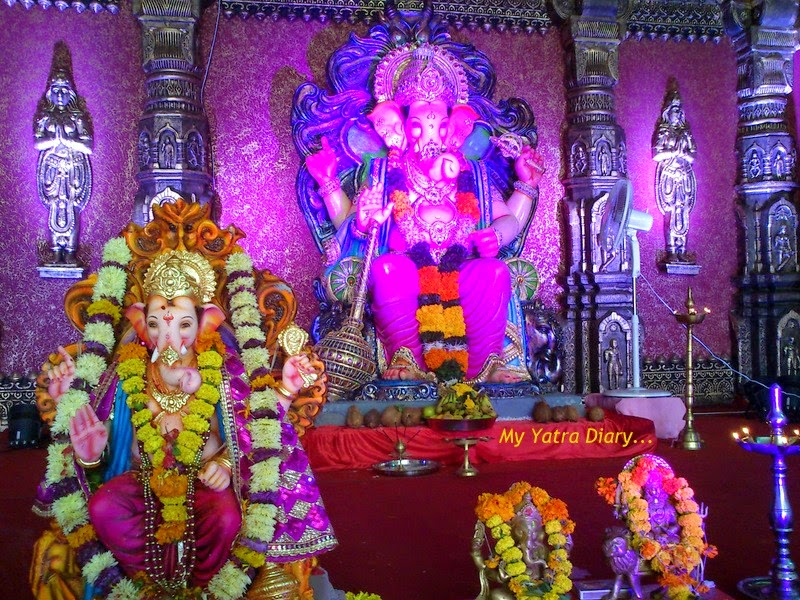 Mumbai Ganpati Pandal Hopping, decorated with flowers and coconuts