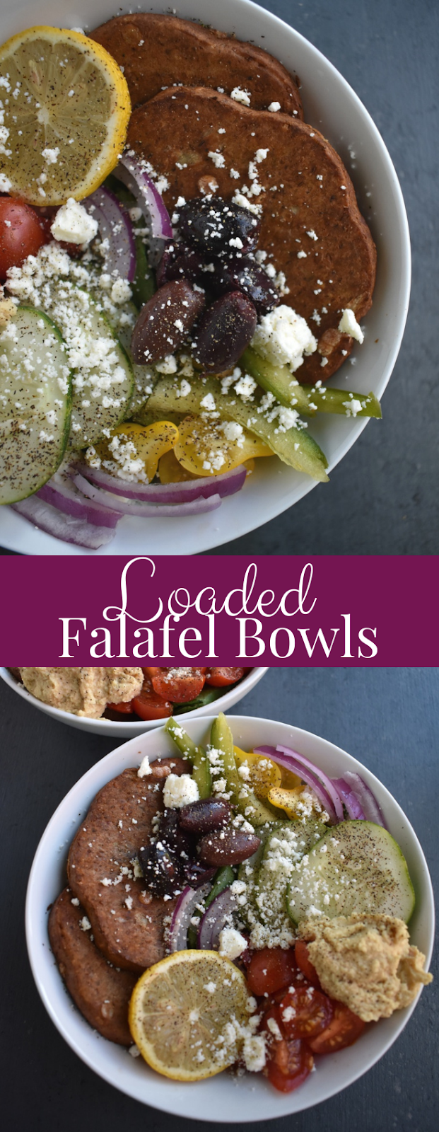 Loaded Falafel Bowls take 10 minutes to make and are full of flavorful ingredients including falafel burgers, tomato, cucumber, kalamata olives, feta cheese, bell peppers, hummus, lemon and red onion! www.nutritionistreviews.com