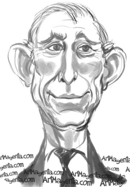 Prince Charles caricature cartoon. Portrait drawing by caricaturist Artmagenta
