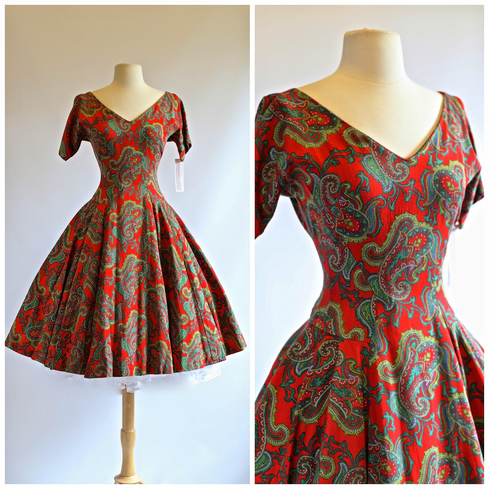 1950's Drop Waist Paisley Print Dress By Murray Millman