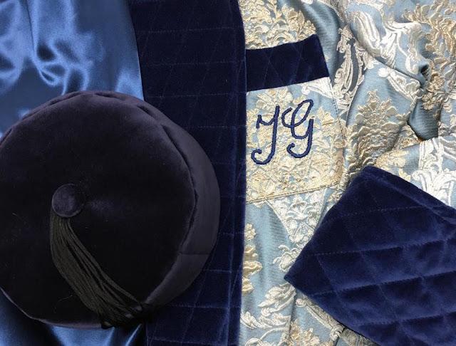 mens smoking hat velvet navy blue english vintage victorian style smoker cap traditional gentleman