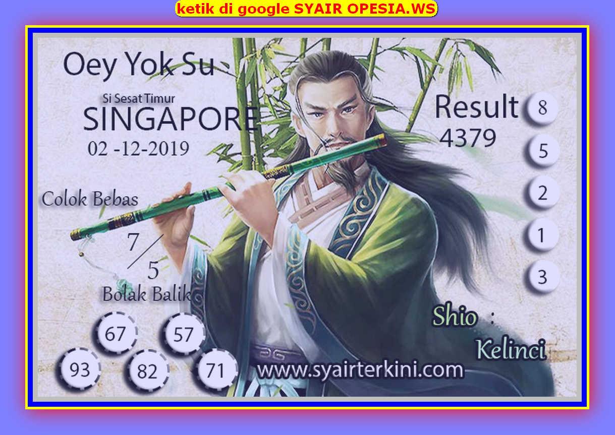 Kode syair Singapore Senin 2 Desember 2019 147