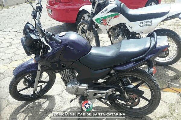 Polícia de Canoinhas recupera moto roubada no Rio do Pinho
