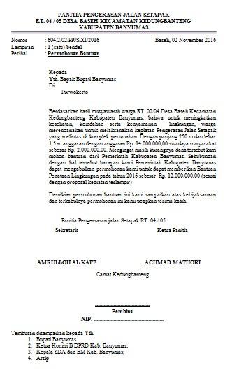 Contoh Proposal Permohonan Bantuan Pengerasan Jalan Setapak