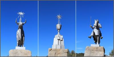 Detalles del monumento dedicado al Padre Tajo (símbolos de Teruel, Cuenca y Guadalajara)
