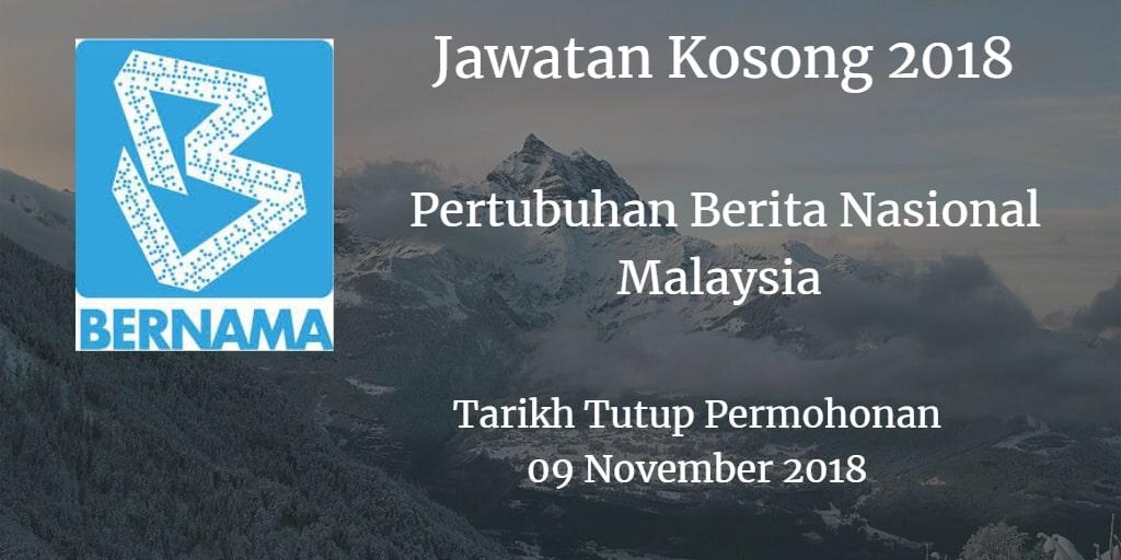 Jawatan Kosong BERNAMA 09 November 2018