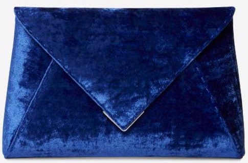 blue crushed velvet clutch handbag