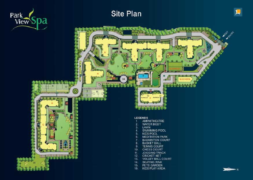 Site Plan of Ready to Move 3/4 BHK Apartments in Bestech ParkView Spa, Sector-47, Gurgaon