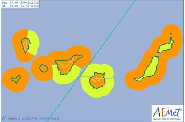 Avisos naranjas por viento y costero en Canarias para mañana miércoles 28 febrero