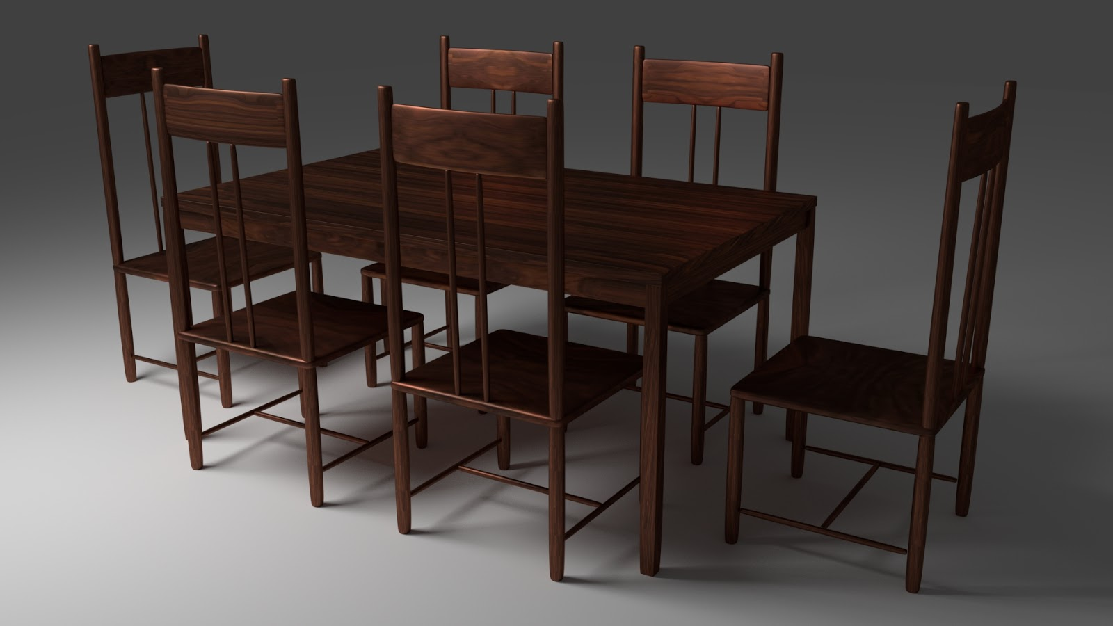 Free 3D Wood Dining Table & Chairs .blend file