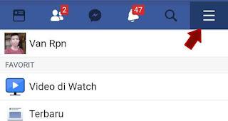 Tap Menu facebook di hp