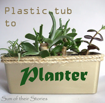 Plastic tub to Pretty Planter