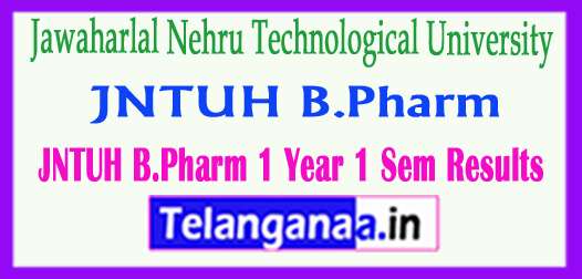 JNTUH B.Pharm 1st Year 1st Sem R16 Results 2018