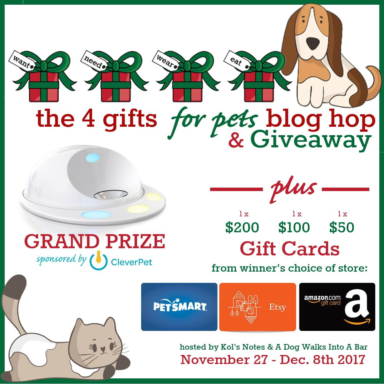 4 Gifts for Pets Blog Hop and Giveaway Starts November 27