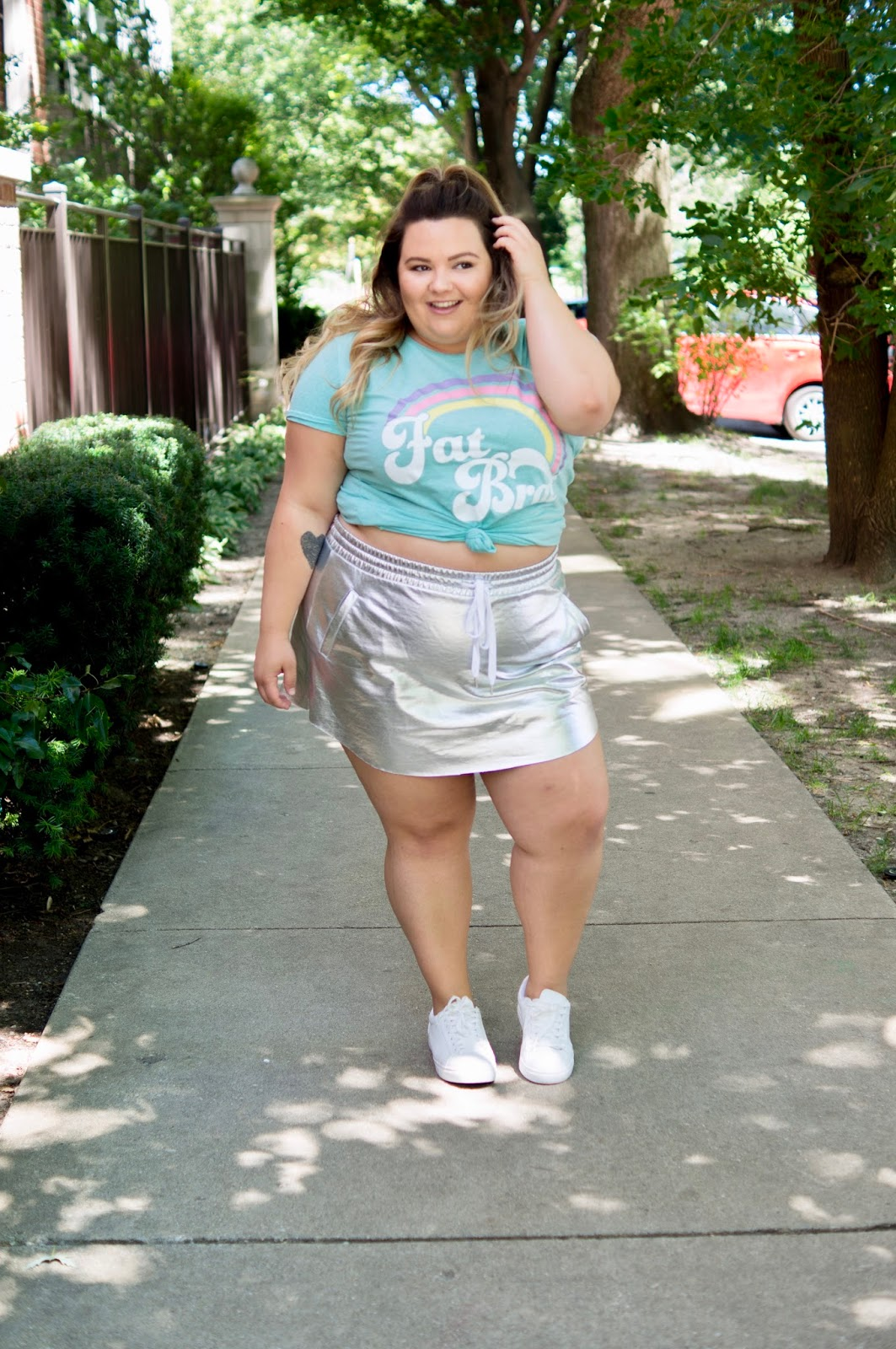 fat acceptance,fat girl flow, corissa, fat brat t-shirt, reclaim fat, fat is not a bad word, natalie in the city, Chicago, plus size fashion blogger, Chicago plus size fashion blogger, scorch magazine, fat and fabulous, curves and confidence, midwest blogger, Chicago fashion, forever 21 metallic skirt