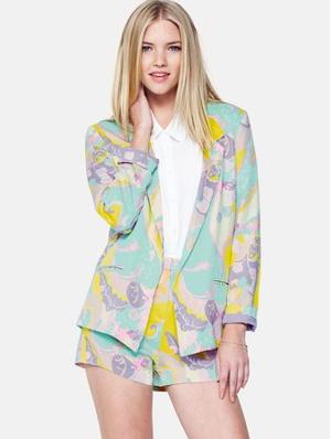 Love Label, Very, Millie Mackintosh, Shorts, Blazer, Suit, Matching, Print, Pastel, Multi-Coloured
