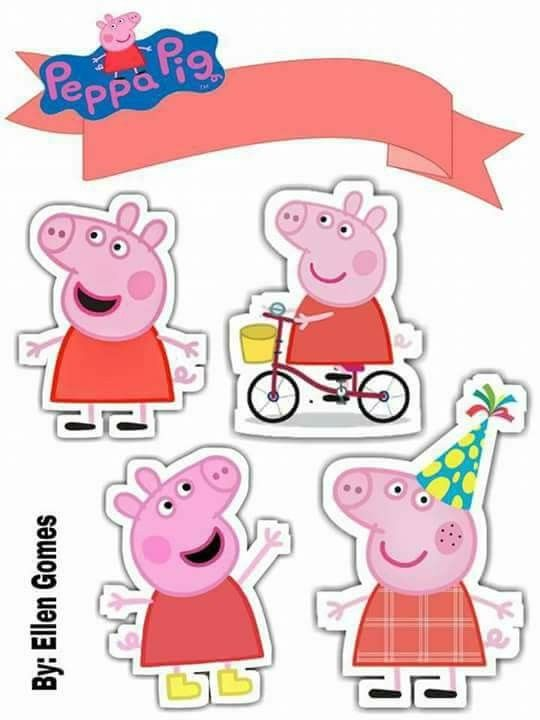 photo relating to Peppa Pig Printable identified as Peppa Pig Birthday Free of charge Printable Cake Toppers. - Oh My