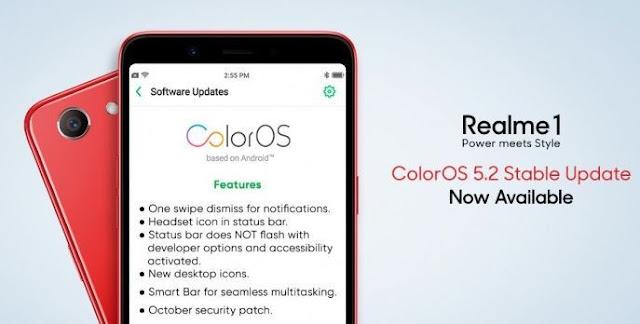 Realme 1 sekarang menerima ColorOS 5.2