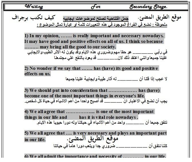كيف تكتب برجراف بالاضافة الى تحميل 300 برجراف جاهز للثانوية العامة , مستر احمد سعيد