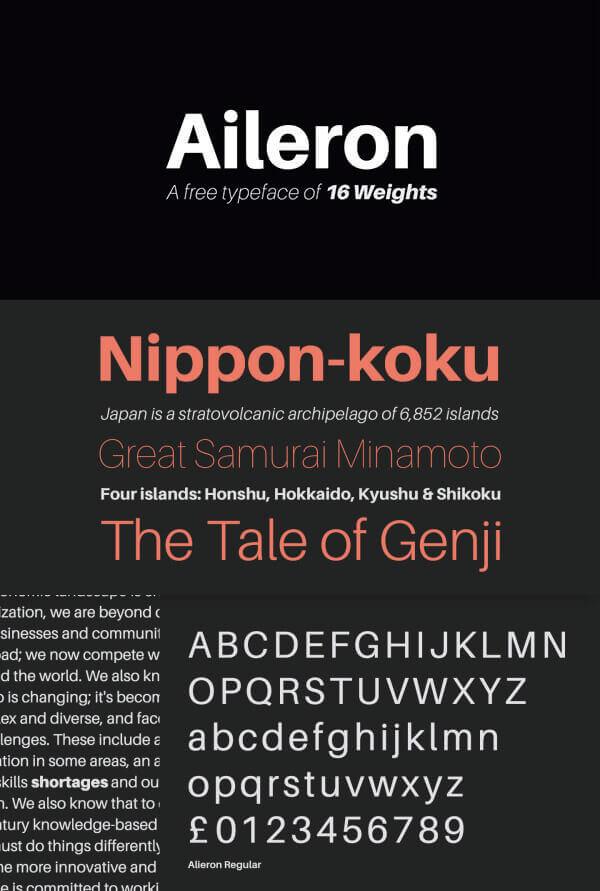 Download Gratis Sans Serif Komersial Font - Aileron Typeface