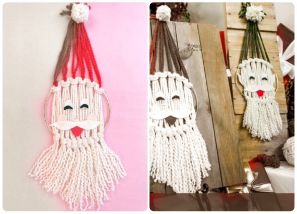 Papá Noel, manualidades Navidad,  cara santa colgante pared, macrame