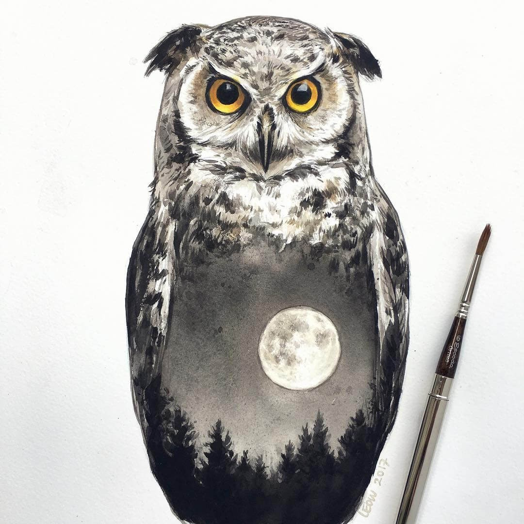 02-The-owl-and-the-moon-Leow-Fantastic-Mix-of-Watercolor-Paintings-www-designstack-co