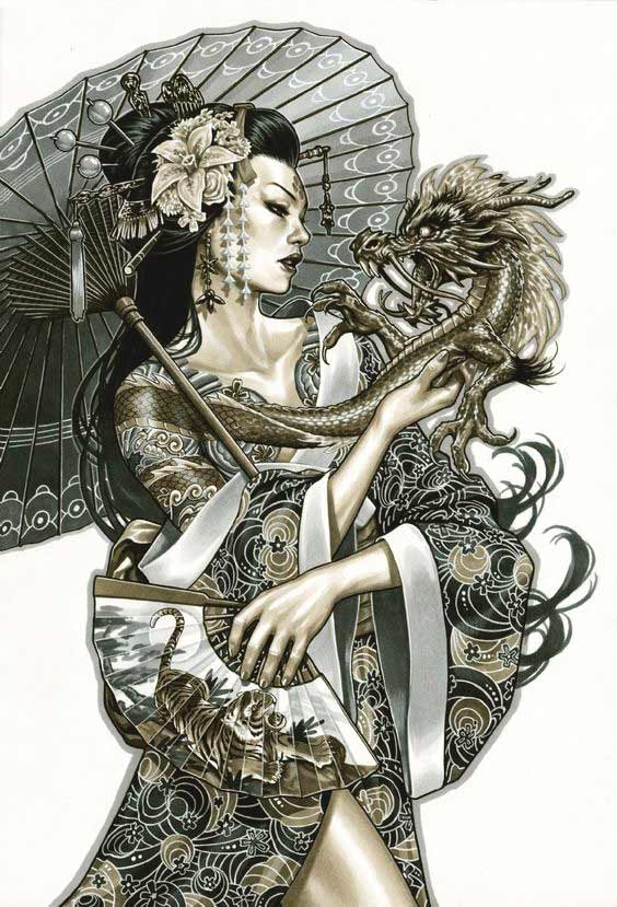 Geisha with dragon tattoo designs for chest and back