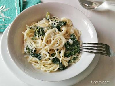 espaguetis con acelgas
